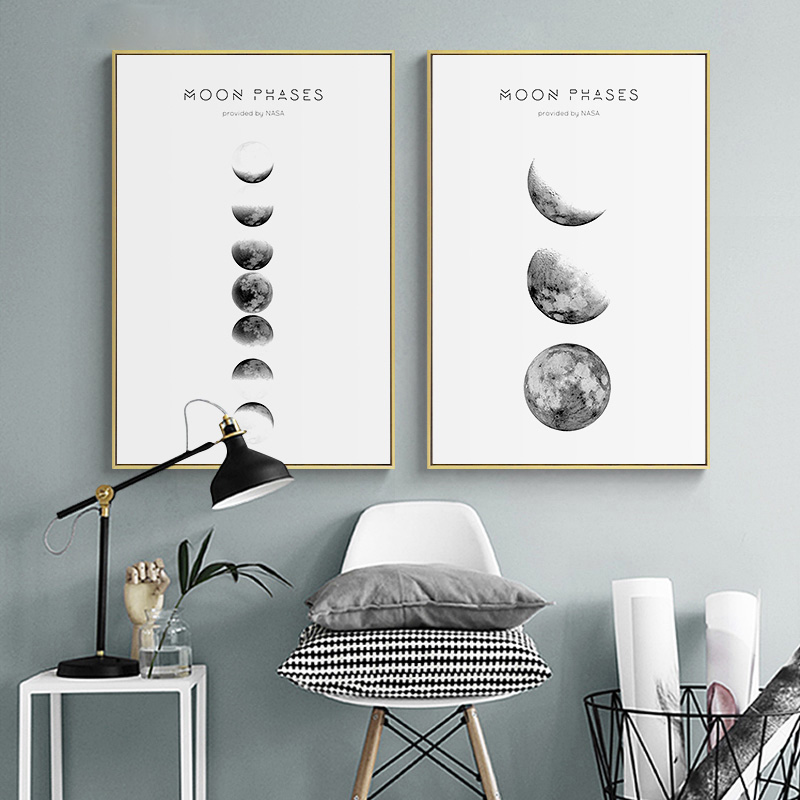 Poster Simple Paintings Picture-Wall Artwork Canvas Print Moon-Phase Living-Room Minimalist-Style