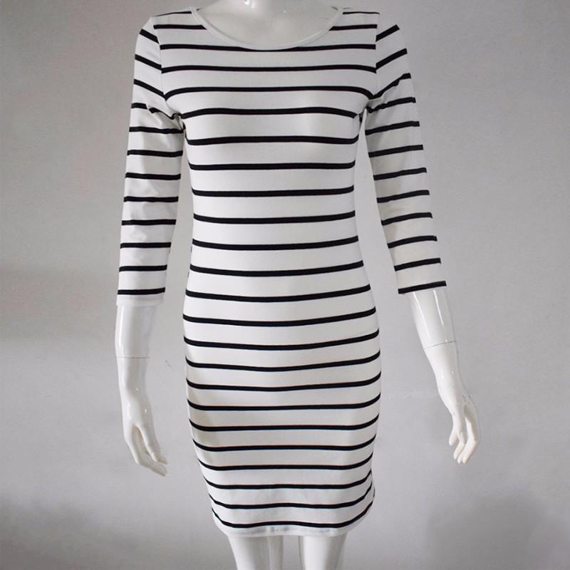 2016 Nowa Wiosna Lato Kobiety Wokół Szyi Mody Czarno-białe Paski Z Długim Rękawem Prosto Plus Rozmiar Casual Dress 12