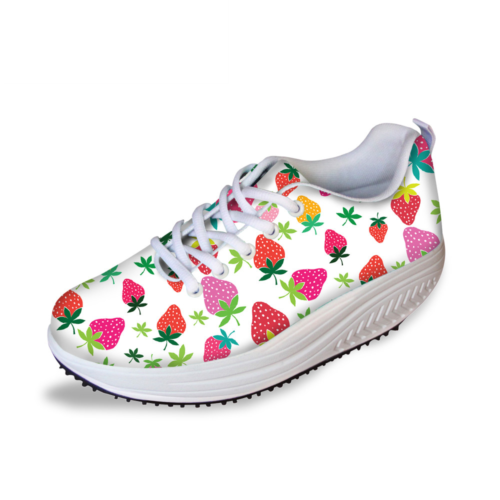 Cute Strawberry Women Platform Shoes Summer Mesh Body Shaping Slimming Flats Fitness Lady Swing Shoes Health Nurse Work Sneakers