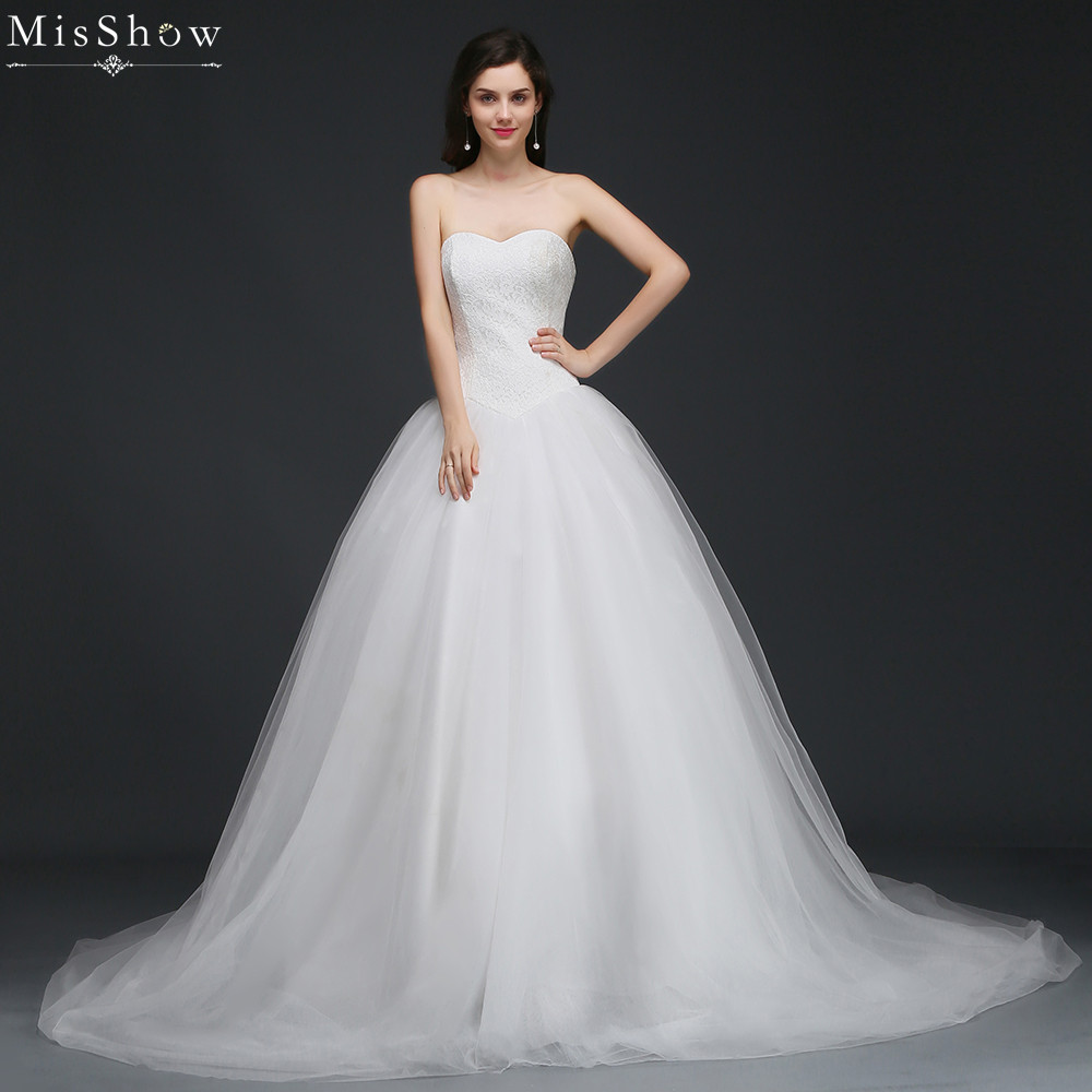 Plus Size Lace Wedding Dresses: MisShow 2018 Tulle Lace Ball Gown Wedding Dress Customized