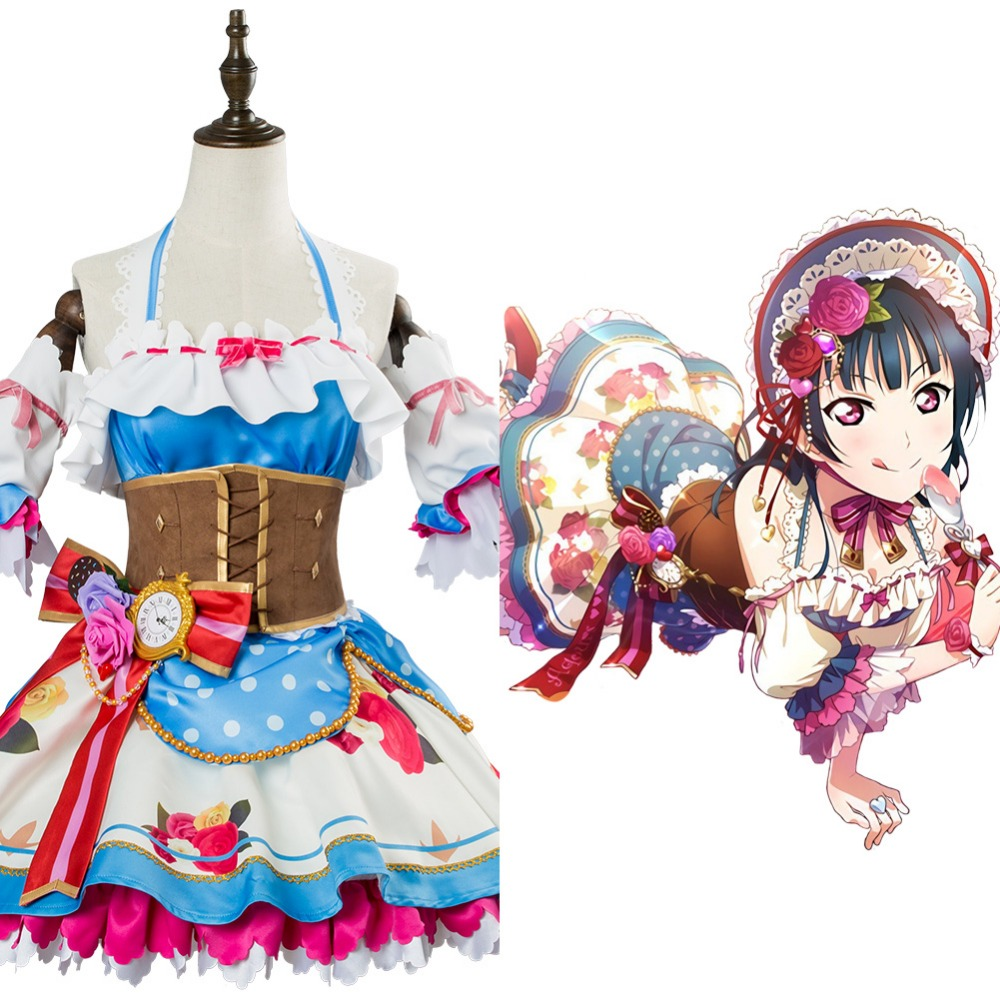 Love Live ! Sunshine ! Yoshiko Tsushima Valentine's Day Dress Cosplay Costume Full Set
