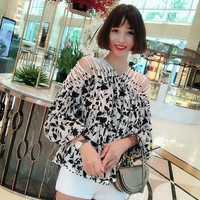 Women Long Sleeve Hollow Out Handmade Beading 3D Embroidery Fashion Silk and Cotton Loose Blouse