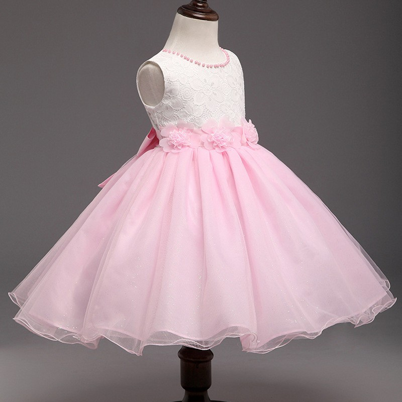 2017 Pink Flower Kids Party Dresses For Girl Weddings Children's Princess Girl Evening Prom Gown Designs Toddler Girl Clothes red new summer flower kids party dresses for weddings formal princess girl evening prom sleeveless girl bow mesh dress clothes