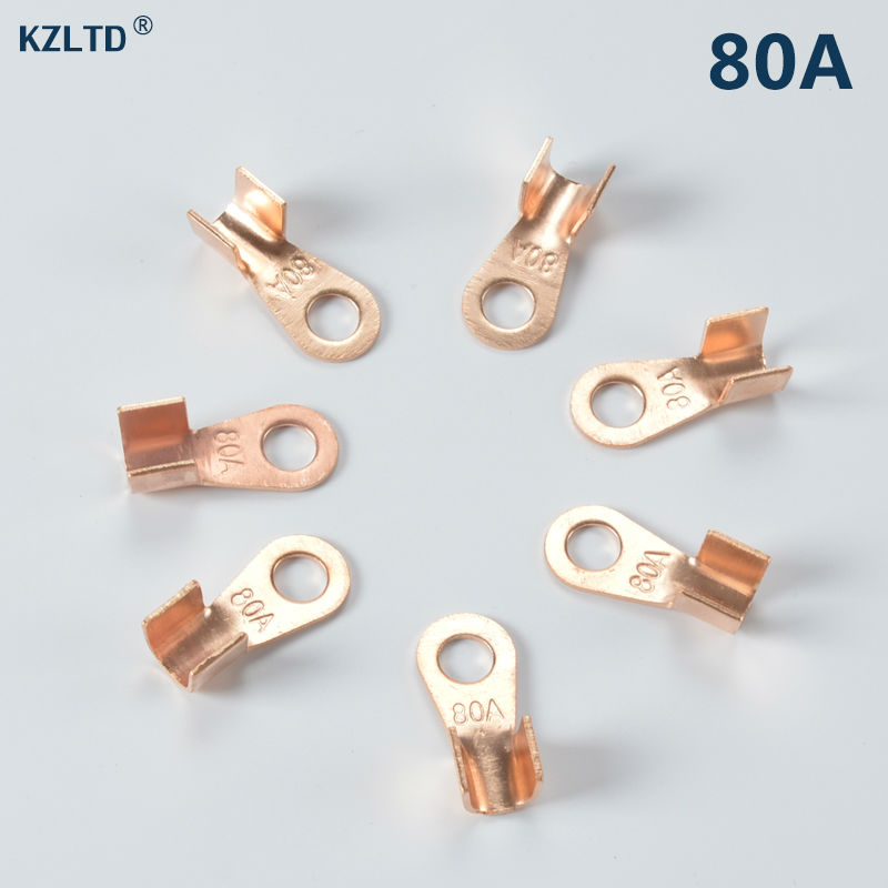 50PCs/Lot 80A <font><b>Battery</b></font> Cable 8.2mm <font><b>Ring</b></font> for M8 Stud Cable <font><b>Connector</b></font> Lug OT-80A