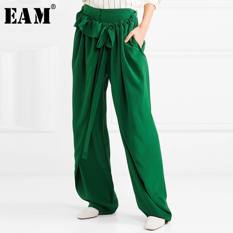 [EAM] 2020 New Spring Autumn High Elastic Waist Black Ruffles Split Joint Loose Wide Leg Pants Women Trousers Fashion Tide JW823