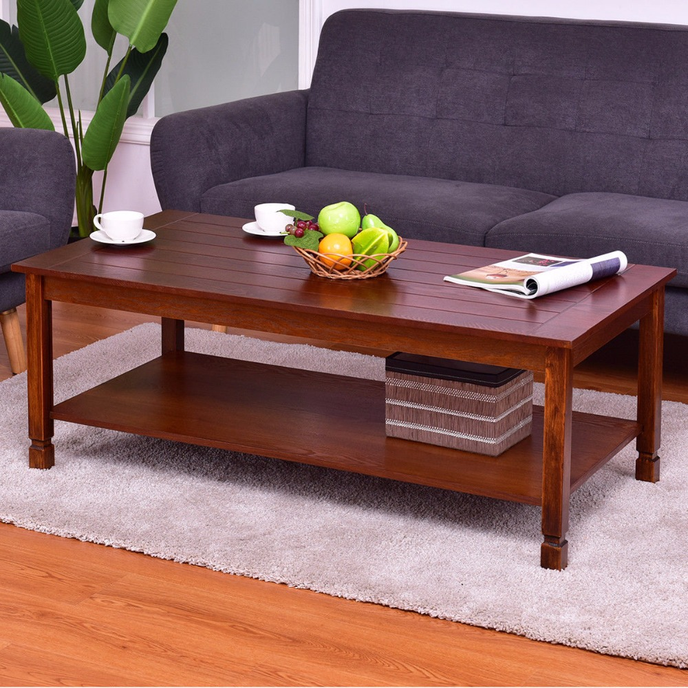 Goplus Wood Coffee Table Rectangle Cocktail Table with Storage Shelf Walnut Modern Home Living Room Furniture Tables HW56278 solid pine wood folding round table 90cm natural cherry finish living room furniture modern large low round coffee table design