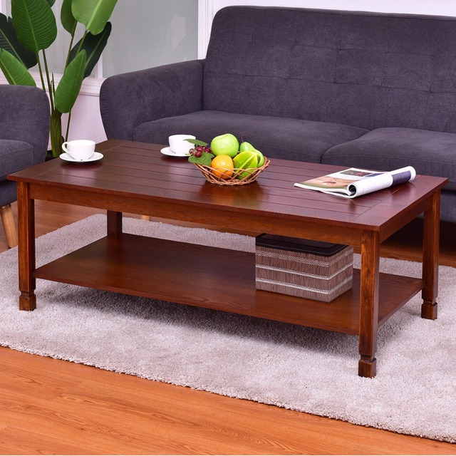 Goplus Wood Coffee Table Rectangle Tail With Storage Shelf Walnut Modern Home Living Room Furniture Tables Hw56278