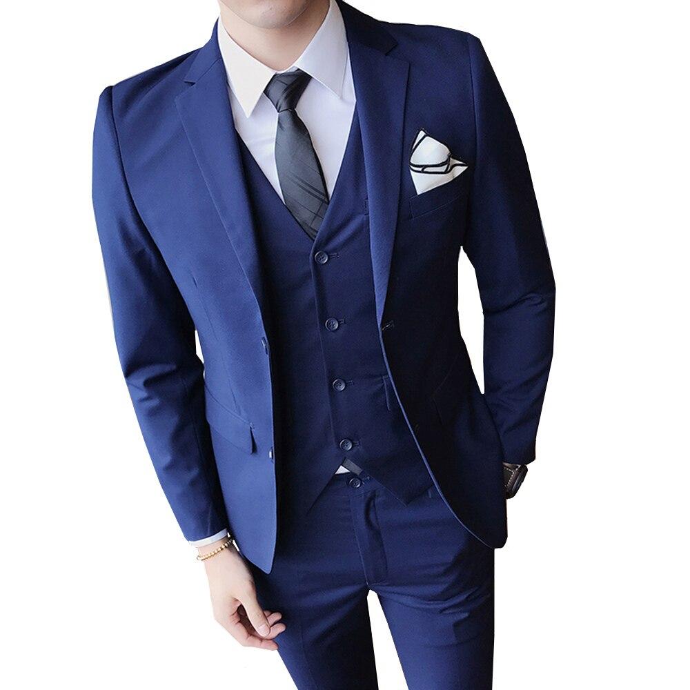 Deftig Mannen Pak 3 Delige Set Pure Kleur Jassen & Broek Vesten Business Bruiloft Banket Man Jeugd Eenvoudige Slim Fit Elegante Smoking