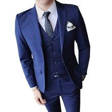 Men's Suit 3 Piece Set Pure Color Jackets & Pants Vests Business Wedding Banquet Man youth simple Slim Fit Elegant Tuxedos