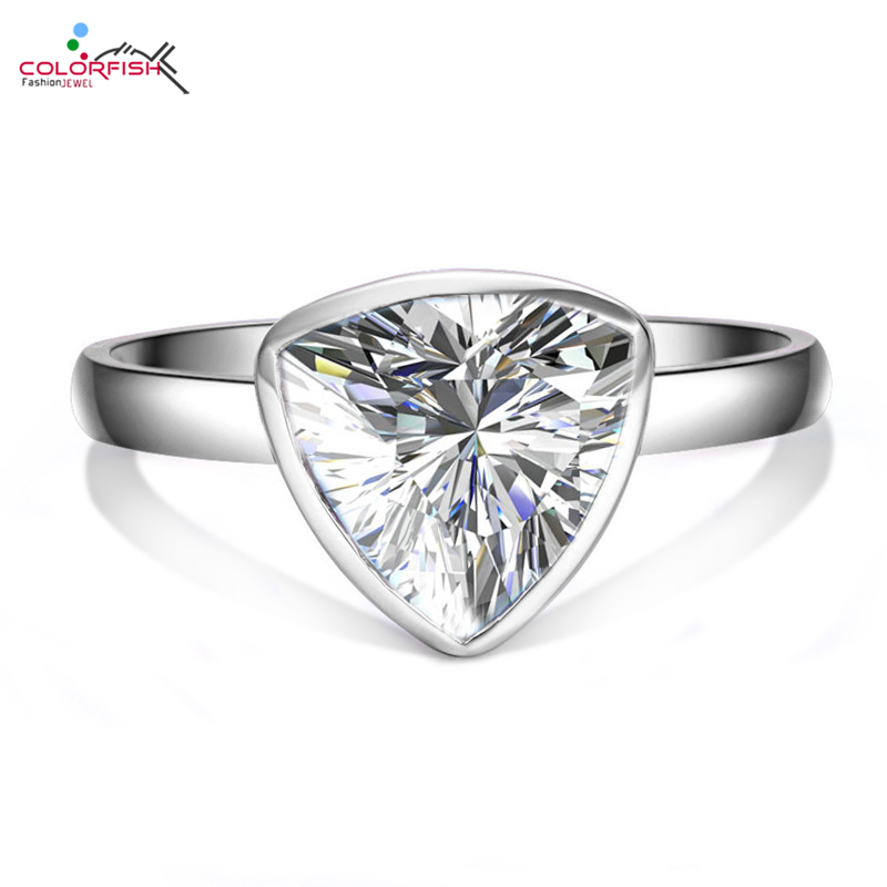 COLORFISH Trillion Cut 0.7 ct Solitaire Engagement Ring For Women Cubic Zircon 925 Sterling Silver Fashion Bezel Set Newest Ring