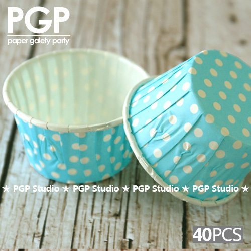 【】[PGP] небесно-голубые бумажные гайки в горошек, стаканчики ...