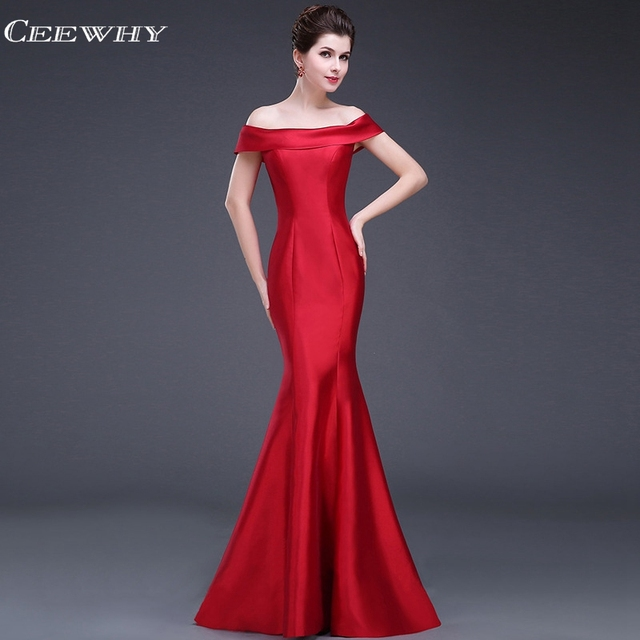 CEEWHY Boat Neck Formal Dress Women Elegant Evening Dresses Long Evening  Gown Mermaid Dress Vestidos Largos Abendkleider fefad7479dcc