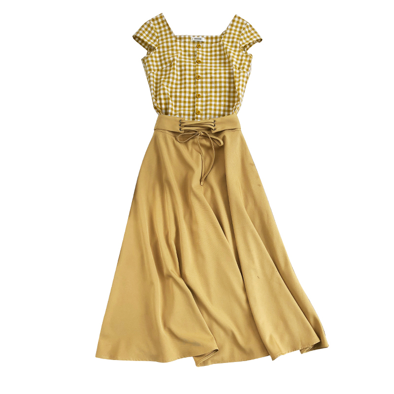 Chic Fashion Two-piece Casual Suits Female Summer 2018 Women Yellow Red Plaid T Shirt A Line Skirt Sets Retro Midi Skirt Suits 6