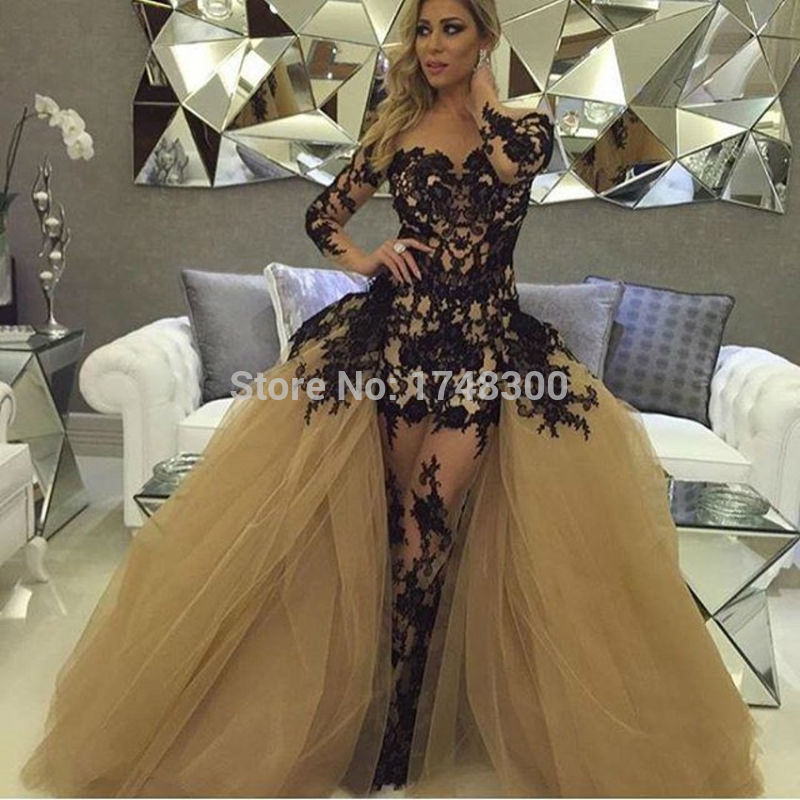 Black Wedding Dress With Detachable Train: Long Sleeve Black Lace Mermaid Prom Dresses Formal Gowns
