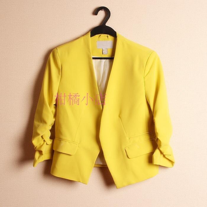 2018 Spring New Candy Color Slim Heap Sleeve Short Short Suit Female Short Slim Small Suit Jacket