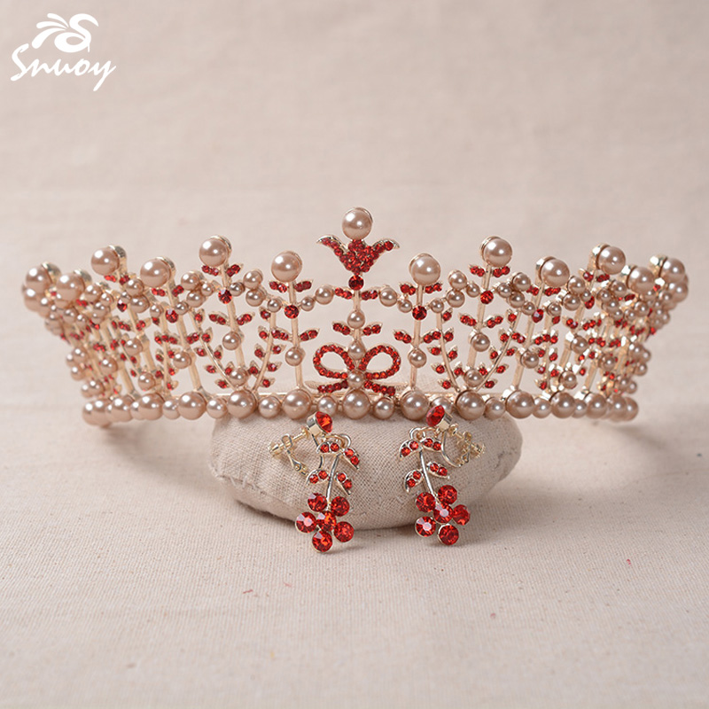 Snuoy Wedding Hair Accessories Vintage Rose Gold Flower Tiaras Pearl Leaf Red Crystal Clip Earrings Crowns for Women Diadem