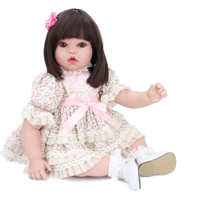 22 ''55 cm Art boutique princesse cadeau éducation précoce Silicone Reborn fille bébé poupées portant jupe de fleur et coiffe rose jouet