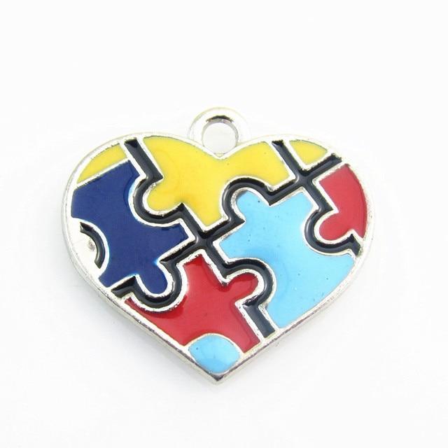 New Arrival 20pcslot Heart Enamel Autism Awareness Jigsaw Puzzle
