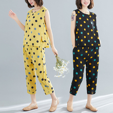 #0817 Sleeveless Tank Top And Harem Pants Women Two Piece Sets Polka Dot Printed Cotton Linen Loose Summer Outfits For Women