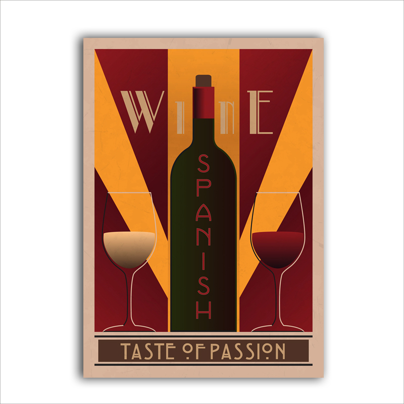 Vintage Wine Poster Art Print Wall Pictures French Spanish Chile Canvas Painting Restaurant And Bars Retro Decoration In Calligraphy From