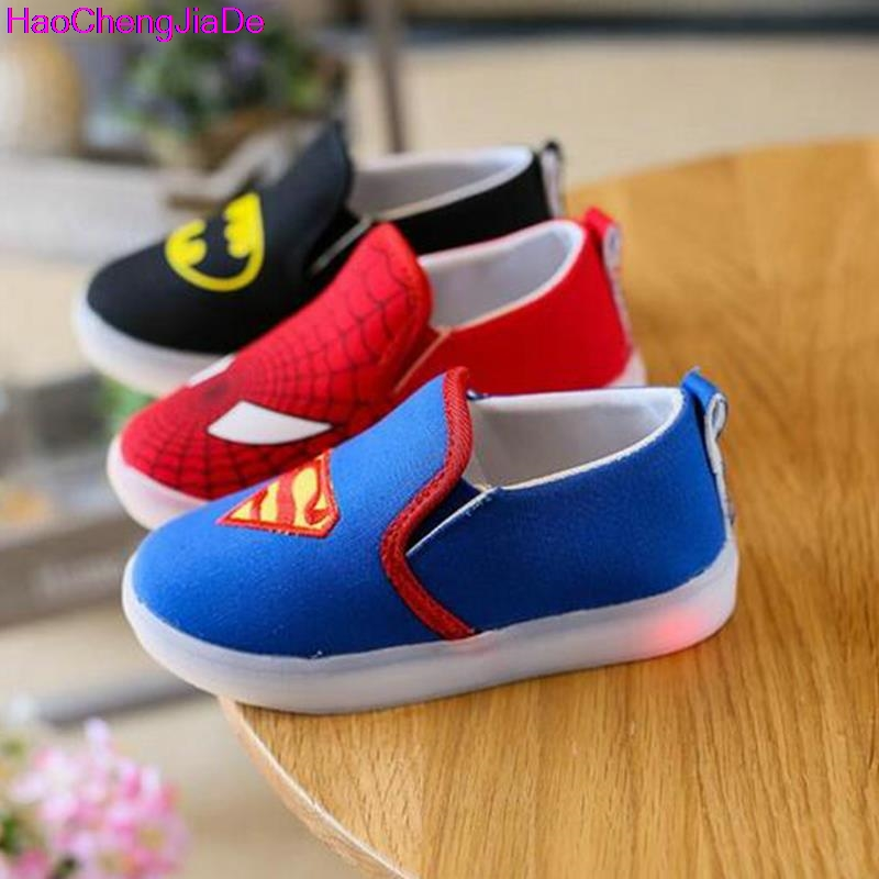 Haochengjiade дети паук Обувь с легкими ребенка холст Спортивная обувь LED Спортивная обувь для детей для Обувь для мальчиков Обувь для девочек Chaussure Enfant 047