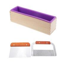 1 шт. Деревянный инструмент для резки мыла волнистые/прямые с 1 шт. фиолетовые силиконовые формы прямоугольной формы с деревянной коробкой
