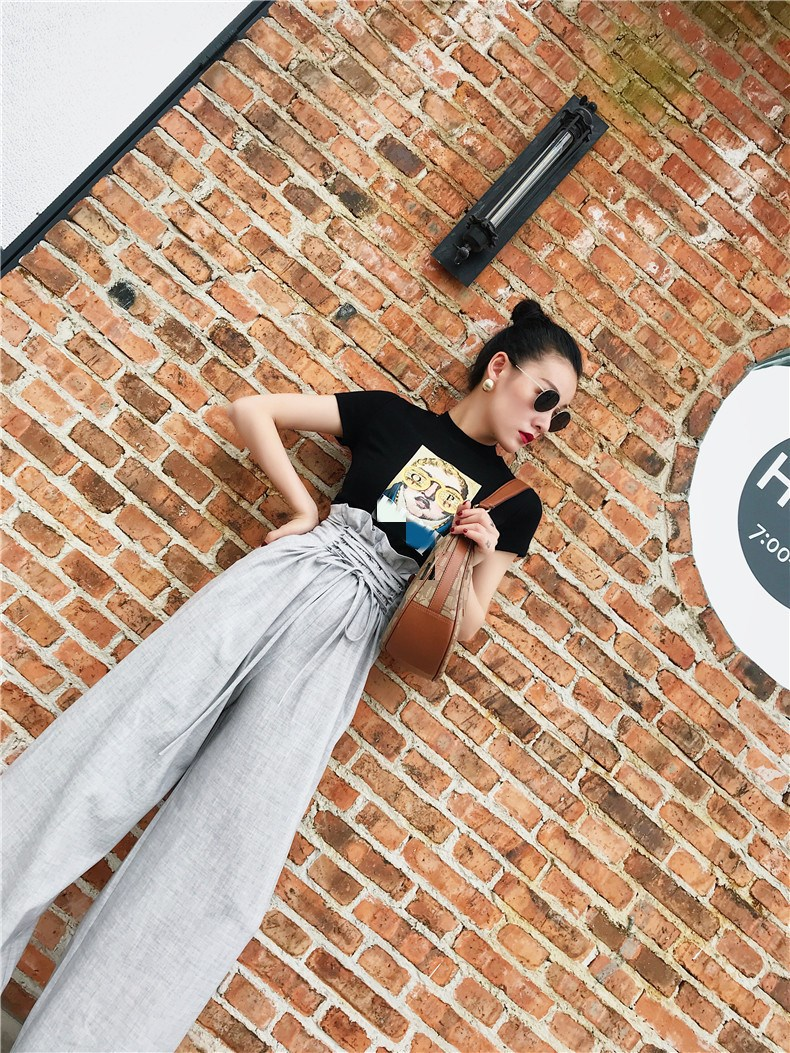 2019 Summer Office Lady  High Waist Lace Up Loose Pants Sashes Fashion Ruffles Wide Leg Solid Long Trousers