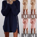Cremallera vestido de invierno 2017 Nueva corea Casual vestido 4 Colores Vestido de suéter Más tamaño ropa barata de las mujeres túnica de manga Larga femme