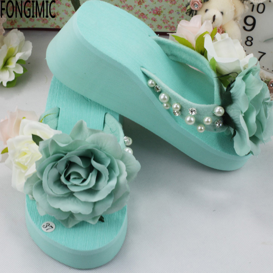 Hot women summer thick bottom muffin sandals ladies fashion all match flower flip flops with string bead comfortable beach shoes фены ga ma фен a21 forzaion nr