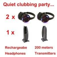Silent Disco Compete System Black Led Wireless Headphones Quiet Clubbing Party Bundle 2 Headphones 1 Transmitters