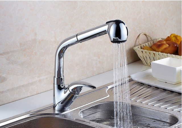 Outlet Hot Sell Brass Chrome Pull Out Kitchen Faucet / Flexible Install  Kitchen Hot And Cold