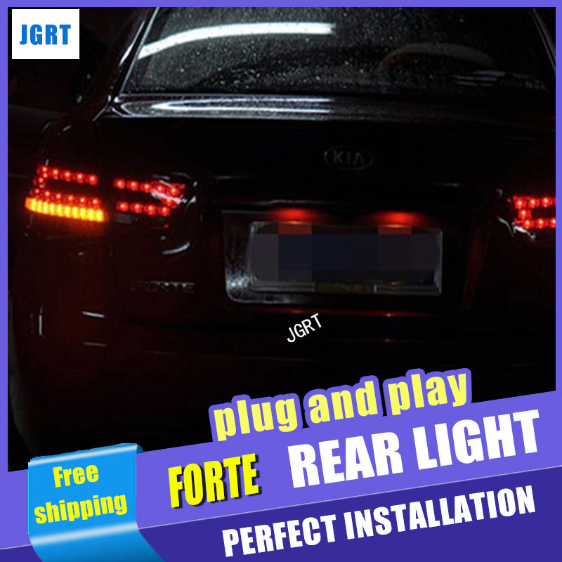 все цены на Car Styling for Kia Forte taillight assembly 2010-2013 Cerato led tail light drl Forte LED Tail Lamp rear lamp signal+brake. онлайн
