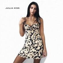 cf6569980ae4 JULIA KISS Women Heart Neck Fit Flare Daisy Print Cami Dress Casual Strap  Mini Dress