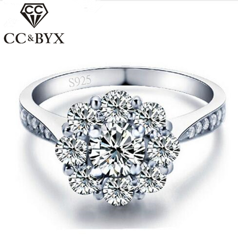 White Gold Color Flower Wedding Rings 925 Sterling Silver