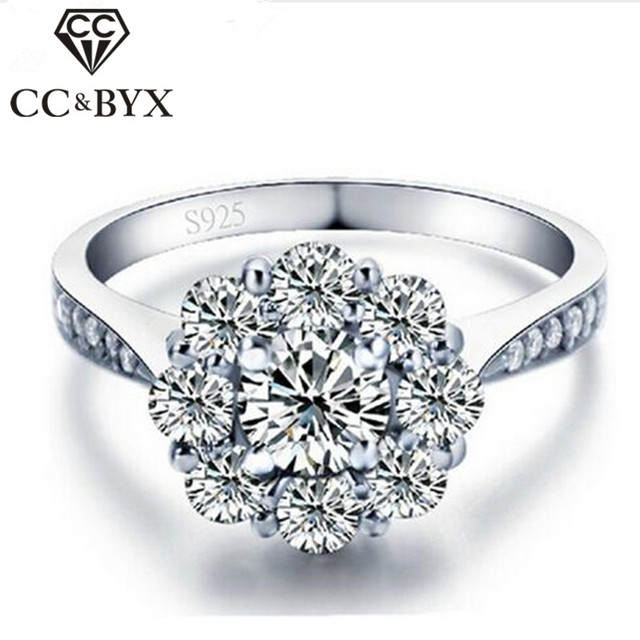 white gold color flower wedding rings 925 sterling silver vintage engagement rings for women cz jewelry - Flower Wedding Rings