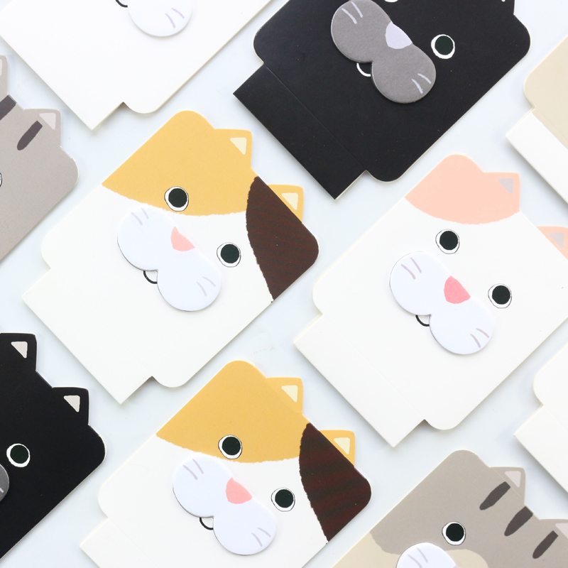Domikee Creative Cute Kawaii Cat Shape School Student Sticky Memo Pad Stationery Supplies,fine Index Note Pads/sticky Tabs