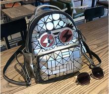 Новинка 2017 года женщин геометрический, сумка глянцевый рюкзак студента школьная сумка геометрический рюкзак с глазами бесплатная доставка