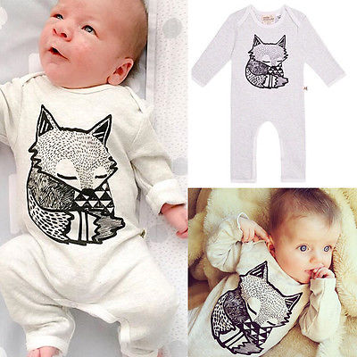 2016 Fashion Baby Girls Boy Cotton Long Sleeve Fox Romper Jumpersuit Autumn Winter Outfits Clothing 0-24M