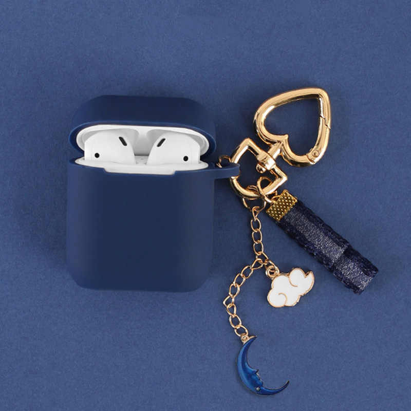 For AirPods protective Case Silicone Soft shell for wireless Bluetooth headset set female Cover anti-fall key ring