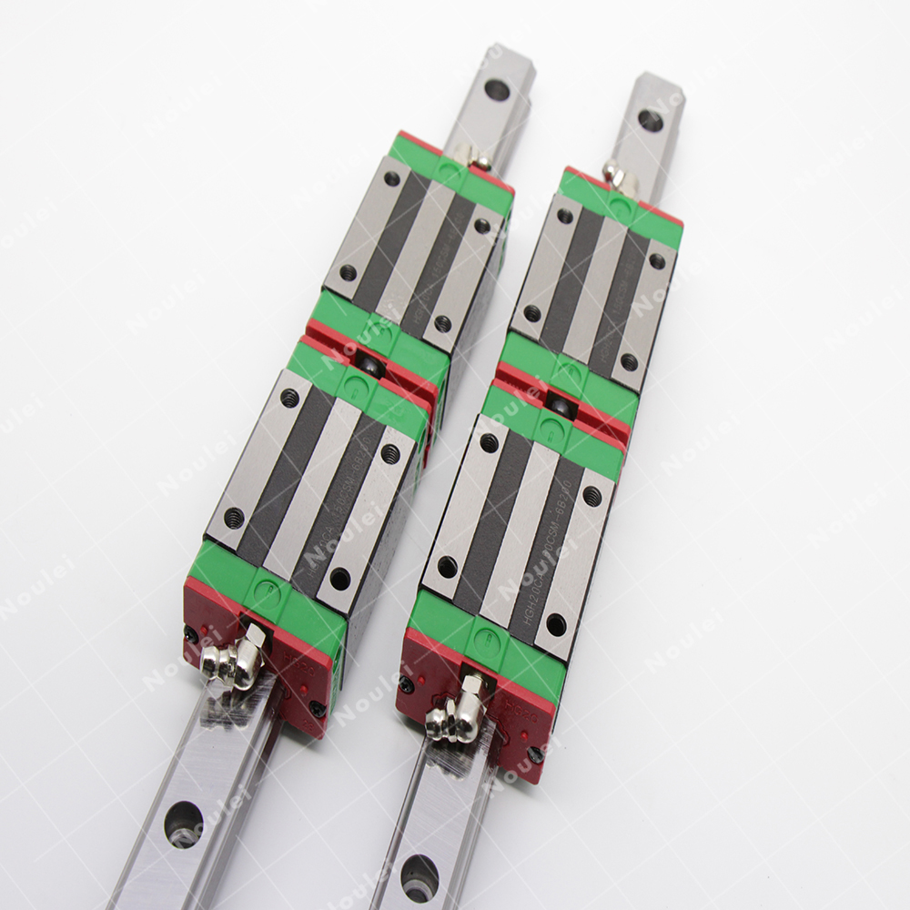 Noulei 2pcs Linear motion Guide Rail  HGR20 CNC+ 4pcs HGH20CA Rail Slide Block HGH L400mm 600mm 800mm sets tbi 2pcs trh20 1000mm linear guide rail 4pcs trh20fe linear block for cnc
