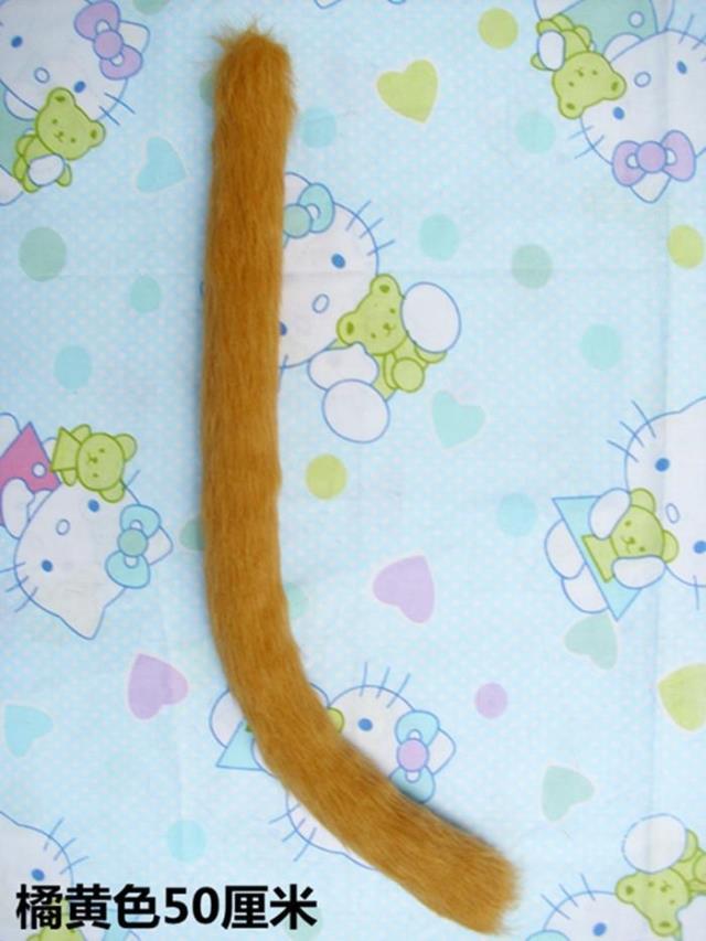 Orange Yellow Brown Neko cat ears cat plush tail set Anime Cosplay Costume Fancy Dress Halloween Props 50cm