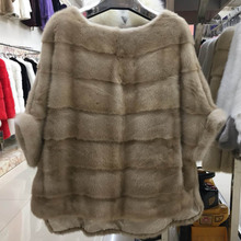 Abrigo de piel auténtica de visón para mujer, chaqueta de manga murciélago con bolsillo, abrigo de piel natural, grueso y cálido, estilo urbano, manga corta, 2020