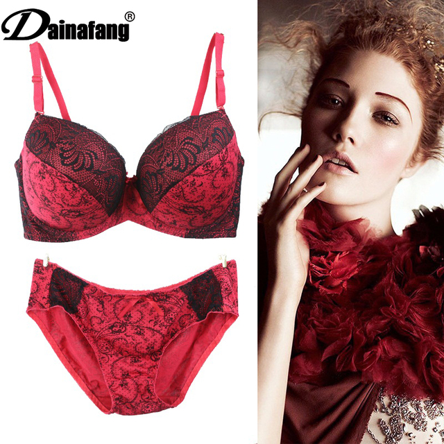 8d38561d9c029 Dainafang Intimate Women Bra Set Lace Printing Push Up Bra Brief Set Sexy  3 4