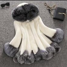 купить 2016 high imitation fur coat women silver fox fur collar hooded rabbit fur coat medium-long overcoat plus size S-4XL winter coat по цене 4137.14 рублей
