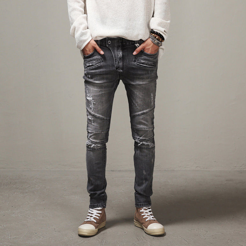 ФОТО High Quality Mens Ripped Biker Jeans Cotton gray Slim Fit Motorcycle Jeans Men Vintage Distressed Denim Jeans Pants m8