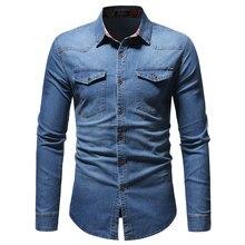 043b3e1787f6 Uomini Camicia di Jeans 2018 Autunno Nuovo 100% Vestiti di Cotone di Modo  Casual Lavato Camicia di Vestito Degli Uomini di Alta .