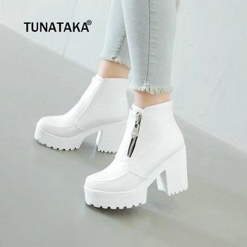Women's Fashion Side Zipper Ankle Boots Platform Thick High Heel Ladies Boots Winter Woman Shoes White Black Plus Size 2018
