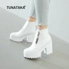 Czarne białe platformy botki damskie buty na wysokim obcasie buty damskie Zip jesienne zimowe botki kobieta buty buty 2019 Dropshipping