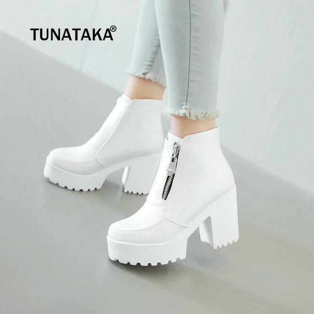 Moda mujer Botines cremallera lateral plataforma gruesa de tacón alto señoras zapatos de la mujer del invierno blanco negro más tamaño 2018