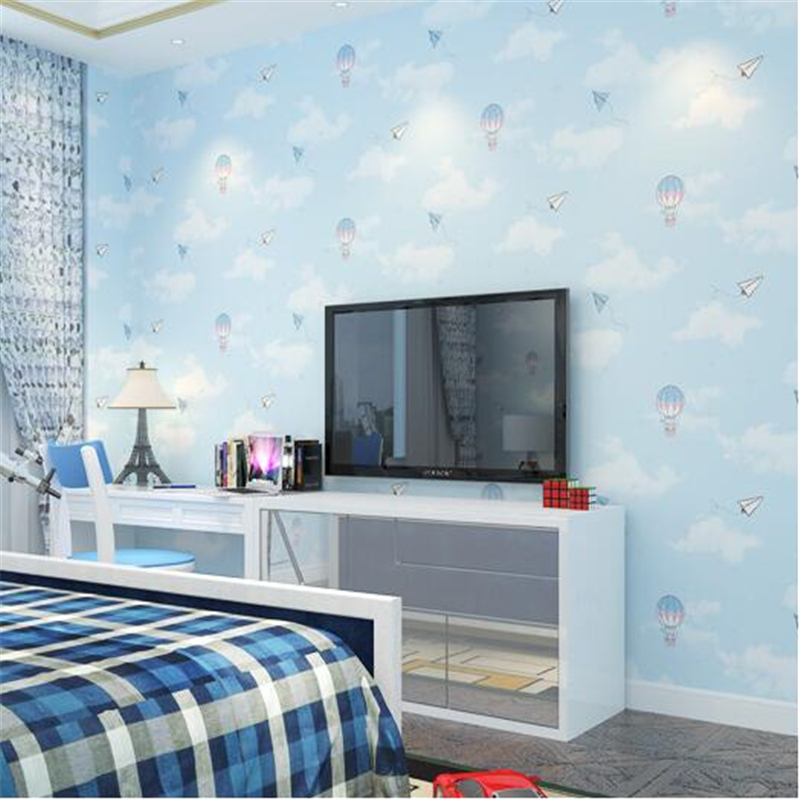 beibehang Children's room wallpaper Non-woven wallpaper Pink girl bedroom bedside wallpaper Cartoon hot air balloon wallpaper beibehang blue wallpaper non woven